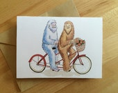 Sasquatch and Yeti on a Bicycle Built for Two- Blank Card, Valentine's Day, Love, Friendship
