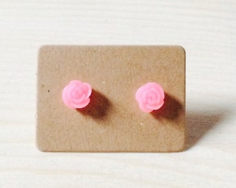 Tiny bubblegum pink rose earrings