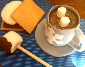 Felt Toy Food,Smores Treat,Cup of Cocoa,Frozen Winter Snack