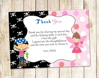 Pirate Fairy Thank You Card - Pixie Kids Birthday Party Notes Printable Personalized