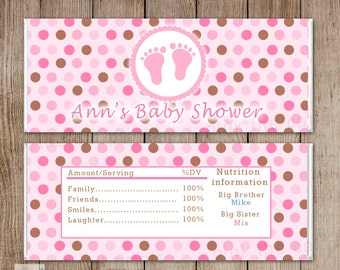 Baby Girl Shower Candy Bar Wrappers Printable Personalized Baby Feet Labels Stickers - Pink Brown Polka Dots Custom Wraps Baby Shower Items
