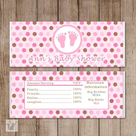 baby girl shower candy bar wrappers printable personalized baby feet