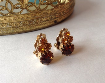 Gorgeous Amber Rhinestone Earrings! Perfect for Fall!