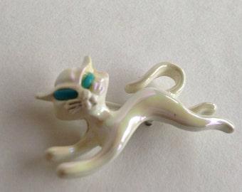 Iridescent white enamel cat brooch