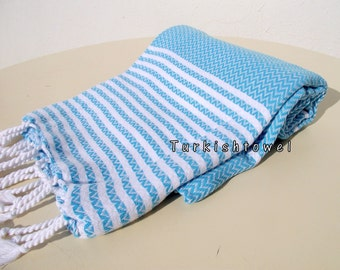 Turkishtowel-2015 Collection-Hand woven,medium weight,very soft,ZİGZAG pattern,Bath,Beach,Travel,Wedding Towel-Light Turquoise,Aqua stripes