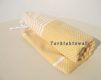 Turkishtowel-2015 Collection-Hand woven,medium weight,very soft,ZİGZAG pattern,Bath,Beach,Travel,Wedding Towel-Yellow,white stripes