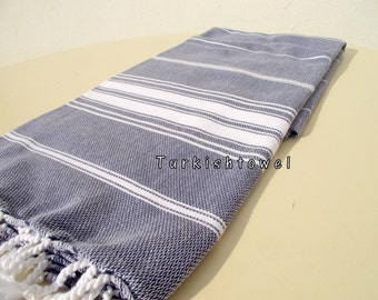 Turkishtowel-NEW Stripes, Soft-High Quality,Hand Woven,Cotton Bath,Beach,Pool,Spa,Yoga,Travel Towel or Sarong-Navy,White Stripes