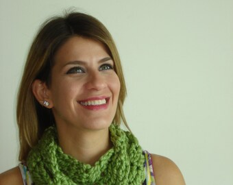 Handmade Thin Crochet Scarf/Cowl Lime Green