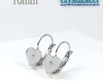 Hypoallergenic stainless steel french clip with 10mm 2808 Swarovski flat heart pad