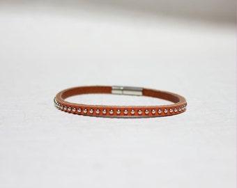 Mini Stud Leather Bracelet(Orange)