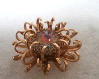 Sara Coventry Large Bohemian Crystal  Flower Pin Brooch