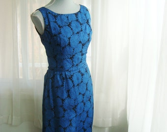 1960's Cocktail Dress, Stunning Black and Metallic Blue Wiggle Dress,  Size 6 to 8