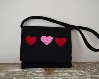 Purse Felted Black Needle Felted Hearts Pink Red Eco Friendly