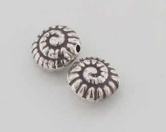 2 of Karen Hill Tribe Silver Nautilus Beads 11.5 mm.. :ka3944