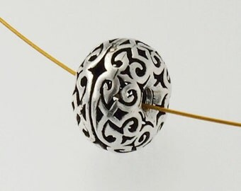 1 of 925 Sterling Silver filigree Donut Bead 13x8 mm. :th1579