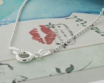 16 inches of 925 Sterling Silver Diamond Cut Ball Chain, Necklace 1mm  :th2134-16