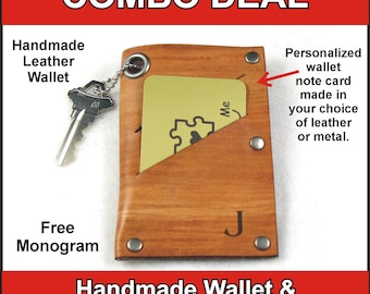 Men's Wallet COMBO DEAL - Ultra Slim Handmade Leather Wallet with Peronalized Note Card