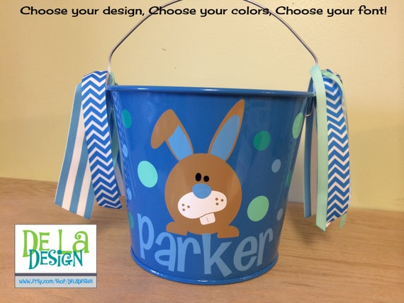 Personalized easter bunny pails buckets 30 easter wikii personalized easter basket 5 quart metal bucket name or monogram bunny design listing is for 1 personalized bucket in 5 quart size in your choice of negle Image collections