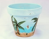 Beach Theme Hand Painted  Flower Pot