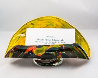 Business Card Holder.  Hand Blown Art Glass in Yellow with Magic Mix.  Made in Seattle.  Artist Dehanna Jones.