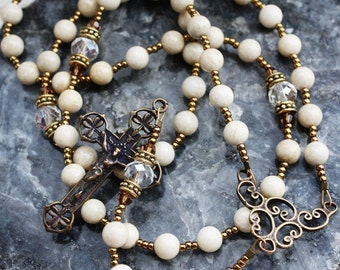 Rosary Beads in Creamy River Stone and Antique Replica Bronze Crucifix