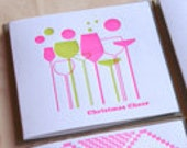 Letterpress Christmas card, Christmas cheer, neon pink, Champagne, Wine, Bubbles, retro styling, pink and green Made in Australia