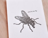 "You're so fly letterpress 5x7"" art print, geology heart shaped rock, rock heart, illustration black and white ink made in Aus"