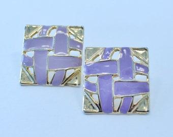 SALE 20 PERCENT OFF Vintage Enamel Goldtone Square Purple Lavender Geometric Open Work Weave Woven Gold Tone Pierced Earrings