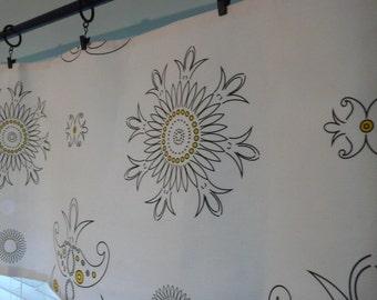 Textile Graphic Artist Yellow Sunflower Linen Canvas Flat Valance or Curtain, Black White Valance. Textile Art Home Decor Window Treatments