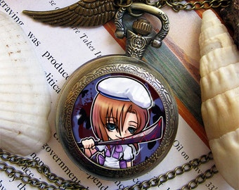 Higurashi no Naku Koro Ni Hanyu Mion Rena Rika Shion necklace pendant dome glass bronze antique pocket watch  keychain key chain