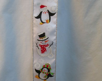 "Penguin / Snowman Wire Ribbon... 2.5"" X 12 Feet"