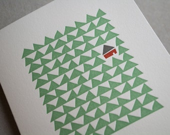 Cottage in the Woods Letterpress Card