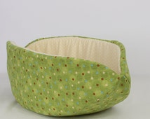 Cat Canoe in Green Dots and Circles Modern Pet Bed