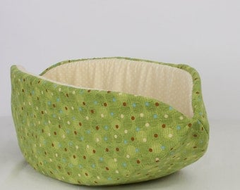 The Cat Canoe Modern Pet Bed design made in Green Polka Dots Cotton Fabric