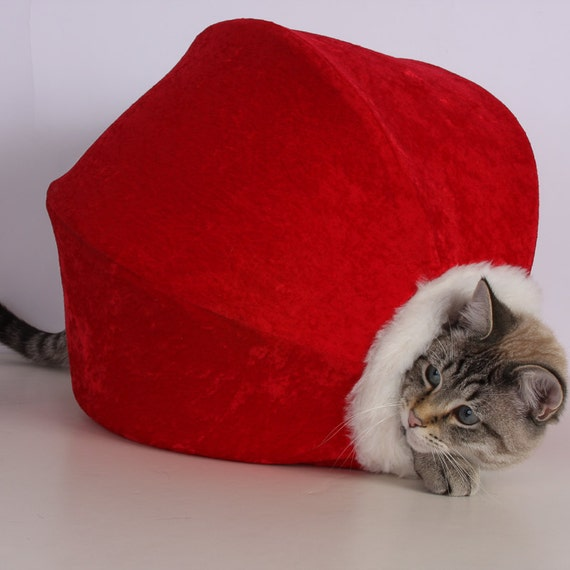 Red Velvet Christmas pet bed with white fur trim and striped lining - the Cat Ball kitty cave for your furbaby