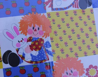 Vintage Raggedy Ann Wrapping Paper in Original Packaging, by Hallmark
