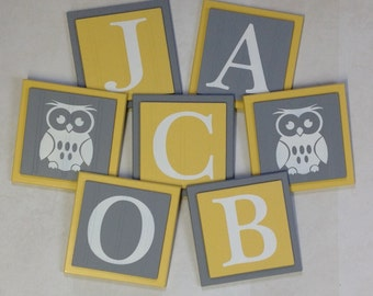 Owl Nursery Decor Baby Boy Name Wall Blocks, Custom Name Sign, 6x6 Square Yellow / Gray Personalized Wooden Plaques, Owl Baby Shower Designs