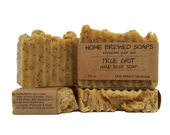 Beer Soap, Mens Soap, Gardeners Soap, Hand Scrub Beer Soap, Handmade Beer Soap, True Grit, Mechanics Soap, Mens Soap, Hand Soap