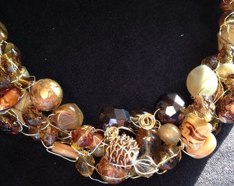 Shades of Brown Wire Crochet Necklace