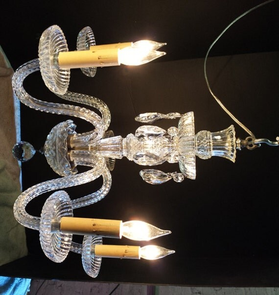 Crystal Chandelier Accessories: Small Cut Crystal Chandelier Vintage Parts Chandelier Hand