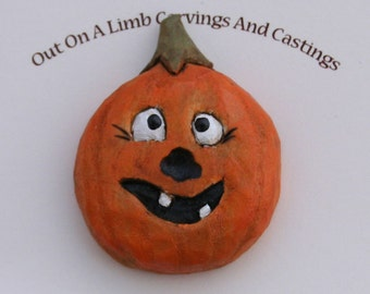 Pumpkin Pin/brooch, Hand carved wood- one of a kind