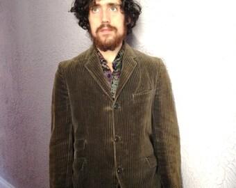 Vintage Men's  Mod Wide Wale Cord Jacket paisley lining medium