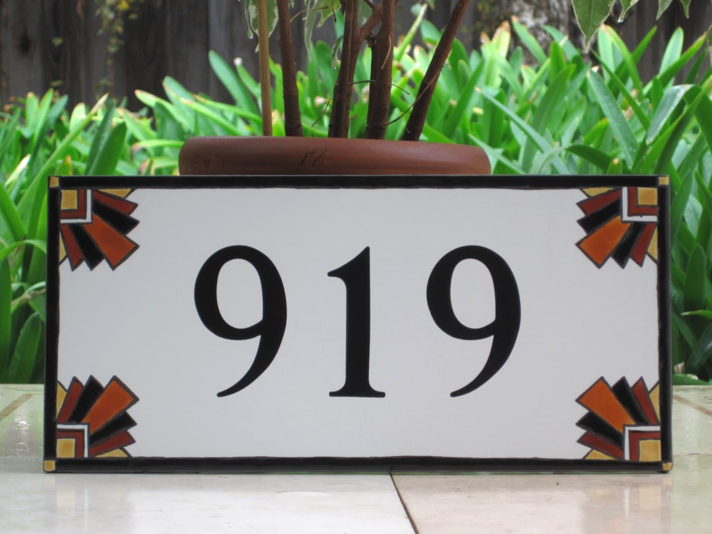art deco house numbers craftsman address plaque southwestern. Black Bedroom Furniture Sets. Home Design Ideas