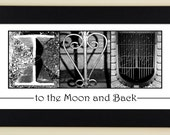Alphabet Photography Letter Photos I Love You to the Moon and Back- framed 5x12