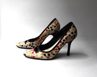 Vintage 1990s Nine west polkadot fabric heels sz 8