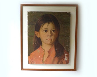 Vintage mid century modern large framed print Crying Girl by Bragolin, sad girl print
