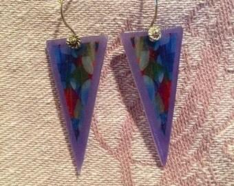 Triangular Shrink Plastic Earrings