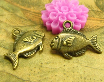 20 pcs Antique Bronze Fish Charms Double Sided 18x10mm CH1882