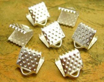 50 pcs Silver Crimp End for Ribbon Clamps 6mm CH2030