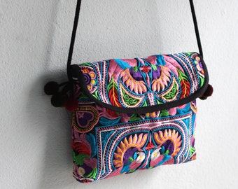 Hmong Old Vintage Style Ethnic Thai Boho Hobo Hippy Small Size Satchel design bag